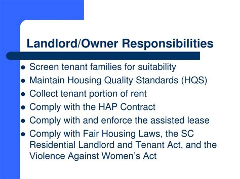 section 8 housing rules for landlords ppt south carolina state housing finance and development