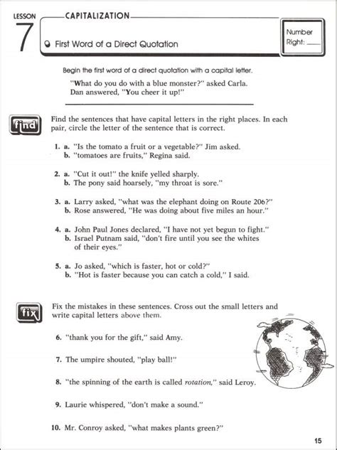 punctuation worksheets grade 4 with answers practicing capitalization punctuation grade 6 044813 details rainbow resource center inc