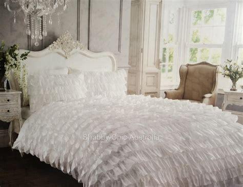 shabby white satin ruffle double bed petticoat doona duvet quilt cover set chic ebay