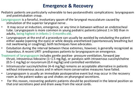 recovery room guidelines problem facing in pediatrics anasthesia