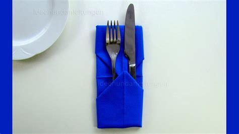 Servietten Falten Mit Besteck by Servietten Falten Bestecktasche Einfache Tischdeko B