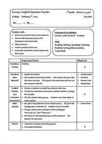 lesson plan template for esl teachers lesson plan sle fotolip rich image and wallpaper