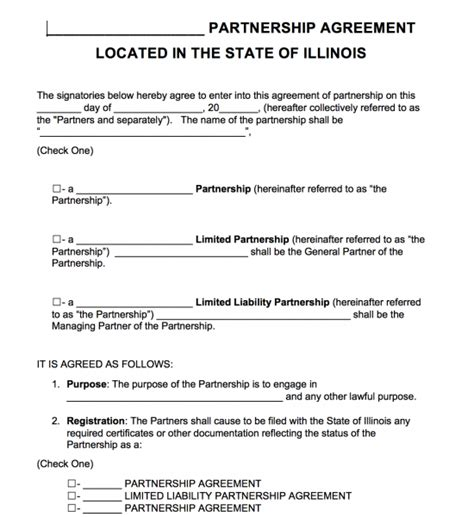 partnership agreement template pdf free illinois partnership agreement template pdf word