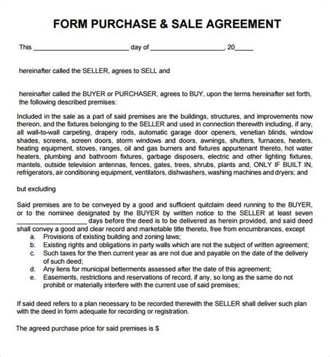 purchase and sale agreement template purchase and sale agreement 7 free pdf