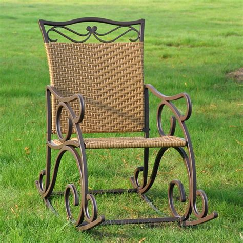 Wrought Iron Rocker Patio Chairs Valencia Wrought Iron And Wicker Patio Rocker Chair Dcg Stores
