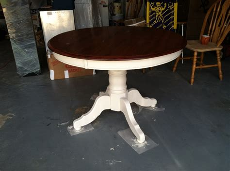 Staining A Kitchen Table Two Toned Kitchen Table Oak Stained Table Top The Rest Painted White Color