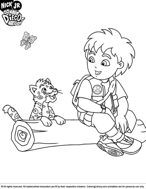 diego coloring pages go diego go coloring page diego sitting on a tree stumb