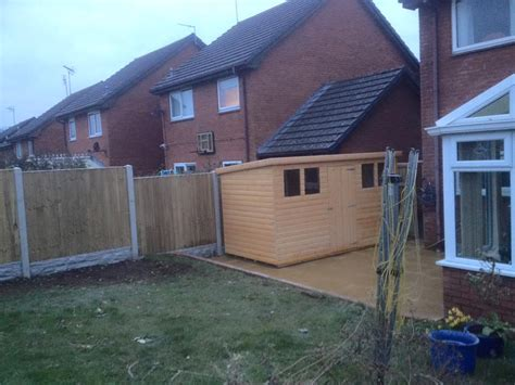 shed installation flagging penrhyn bay north wales gates landscaping