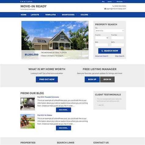 Wordpress Real Estate Website With Idx Real Estate Website Templates With Idx