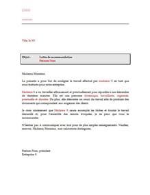 Exemple De Lettre De Recommandation Word Lettre De Recommandation Pour Sous Traitant Ou Sous Traitante Lettre De Recommandation
