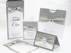 silver glitter wedding stationery set bodas