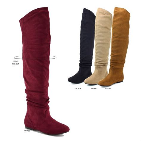 new faux suede the knee high wide calf pull on