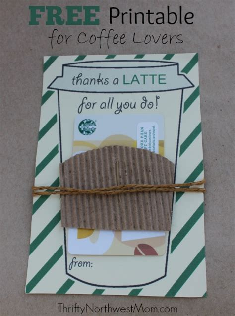 thanks a latte card template thanks a latte free printable great idea for