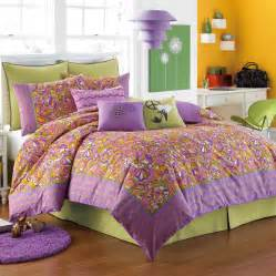 Waking up to this orange purple and green funky retro paisley pattern