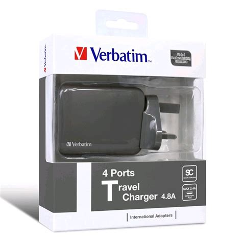verbatim 4 8a 24w 4 port usb travel charger uk us eu au grey prices features