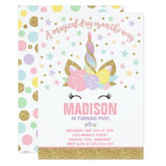 unicorn birthday card template unicorn invitations zazzle