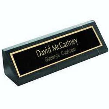 personalized nameplates on black marble desk wedge