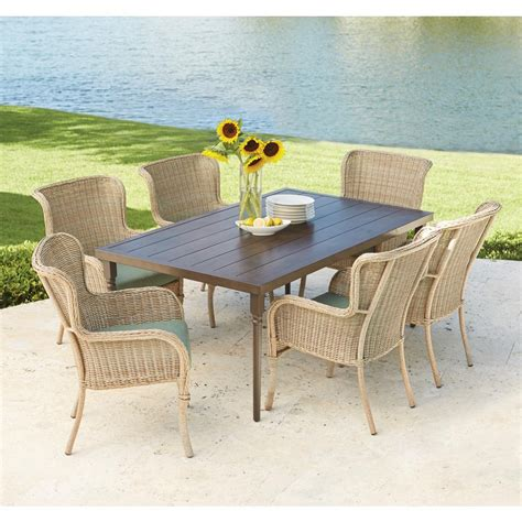 patio dining sets 7 hton bay lemon grove 7 wicker outdoor dining set