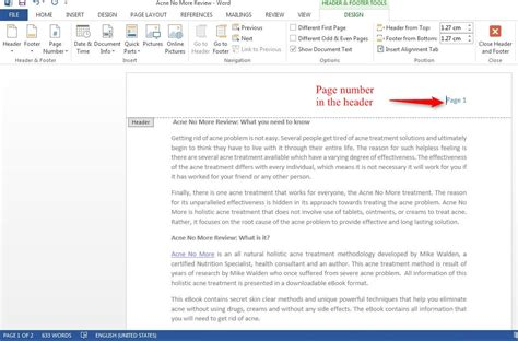 insert header footer page number in word 2013