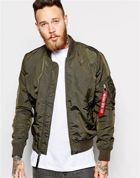Jacket Bomber Ma 1 alpha industries ma 1 bomber jacket slim fit in green for