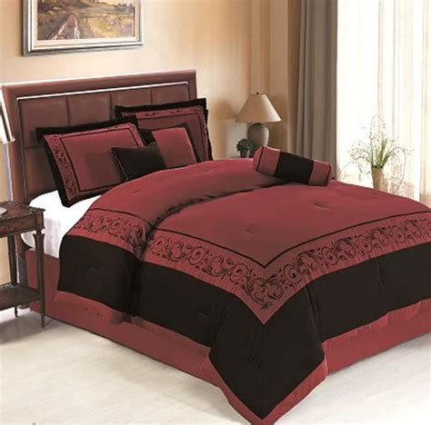 black and burgundy comforter set 7 piece queen size embroidered floral comforter set
