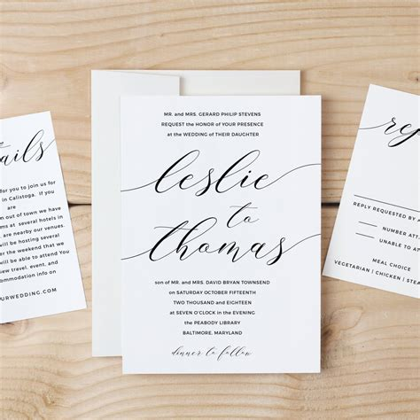 Wedding Invitation Templates For Mac Printable Wedding Invitation Template Modern Calligraphy Script Word Or Pages Mac Or Pc