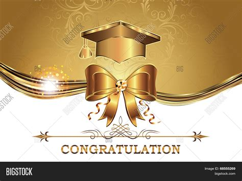 graduation cap invitation kit 5 5 quot x8 5 quot set 24 49664 elegant golden graduation card vector photo bigstock