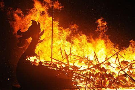viking longboat on fire scotland shetlands spectacular up helly aa viking