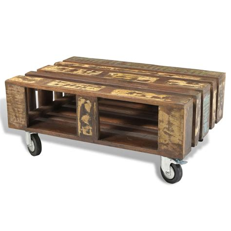 Antique Coffee Table With Wheels with Vidaxl Co Uk Antique Style Reclaimed Wood Coffee Table With 4 Wheels