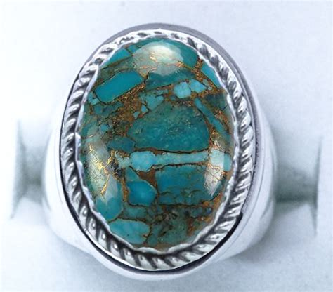 sterling silver mens genuine turquoise with copper