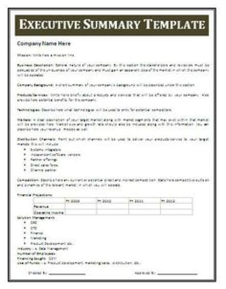 Executive Summary Exle Template 13 executive summary templates excel pdf formats
