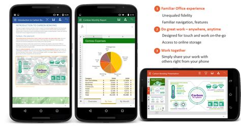 microsoft office android the microsoft word excel and powerpoint preview apps on your android phone