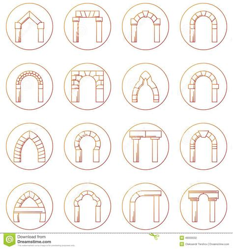 Different Types Of Building Plans sketch icons collecion of different types arch stock photo