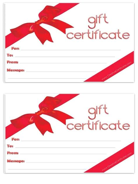 gift card template printable free gift certificate template customize and