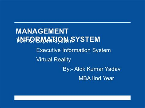 Mba Information System Management Project Topics by Management Information System