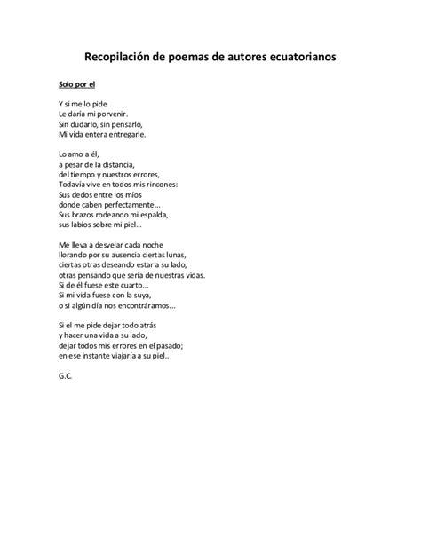 poesias e autores recopilacion de poemas de autores ecuatorianos