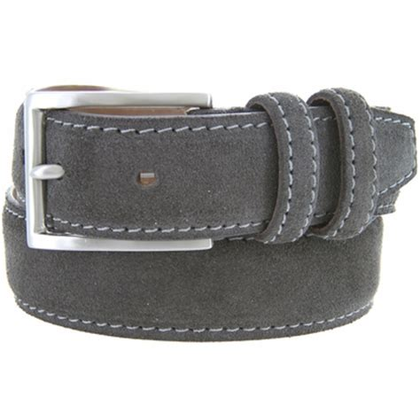 s suede leather dress belt gray