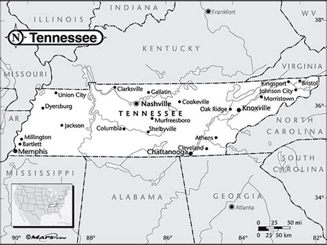 Tennessee Outline Map by Blank Map Of Tennessee With Rivers