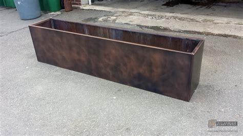 Copper Planter Boxes by Custom Copper Flower Box With Patina Finish