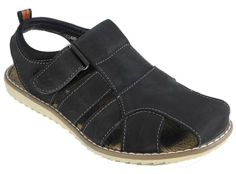 mens closed toe leather dress sandals mens nubuck leather closed toe velcro jesus sandals black