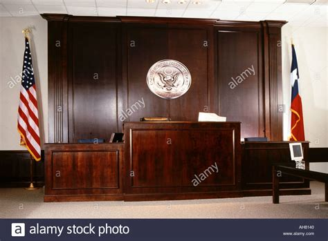 judge bench courtroom and judges bench in courthouse stock photo