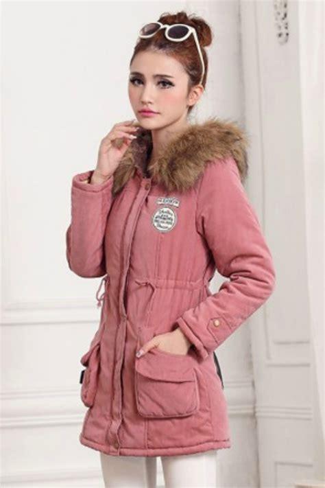 pink hooded parka jaket bulu hoodie korea jyg18911pink