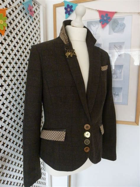 tweed jacket size 12 customised embellished tu tweed jacket size 12 wearable