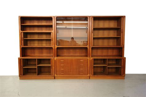 wall unit storage set of three danish teak wall unit bookcase shelving by