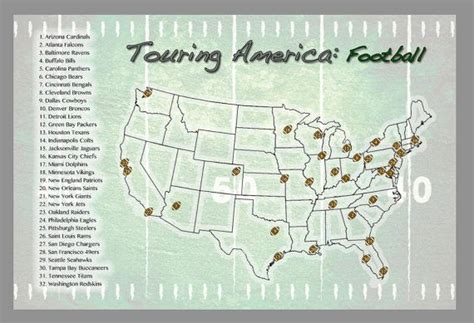 usa map 18 x 24 nfl stadium checklist usa map poster with stickers 18 x 24
