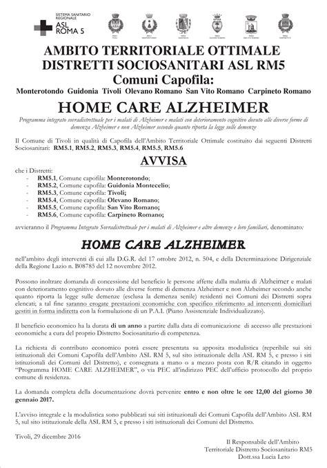 home care alzheimer bando per contributo economico