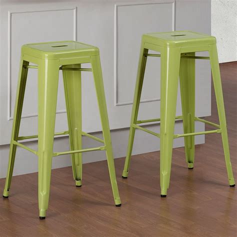 Colored Metal Bar Stools by Tabouret 30 Inch Limeade Metal Bar Stools Set Of 2