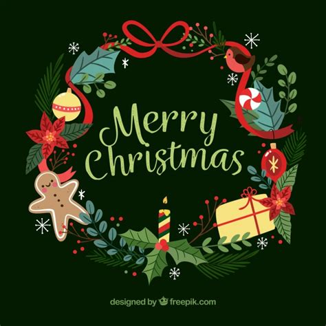 imagenes navidad vector corona de navidad con bonitos elementos descargar