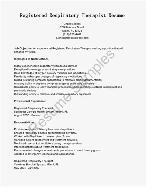Respiratory Therapist Resume Sle by Respiratory Therapist Resume Respiratory Therapist