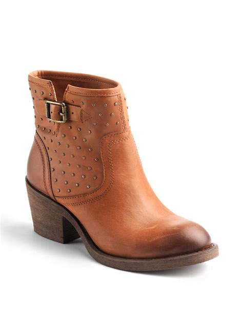 lucky s boots lyst lucky brand butler studded boots in brown